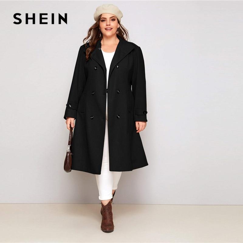 SHEIN Plus Size Black Double Button Self Tie Coat Women Autumn Winter Waterfall Neck Solid Elegant Outwear Long Pea Coats