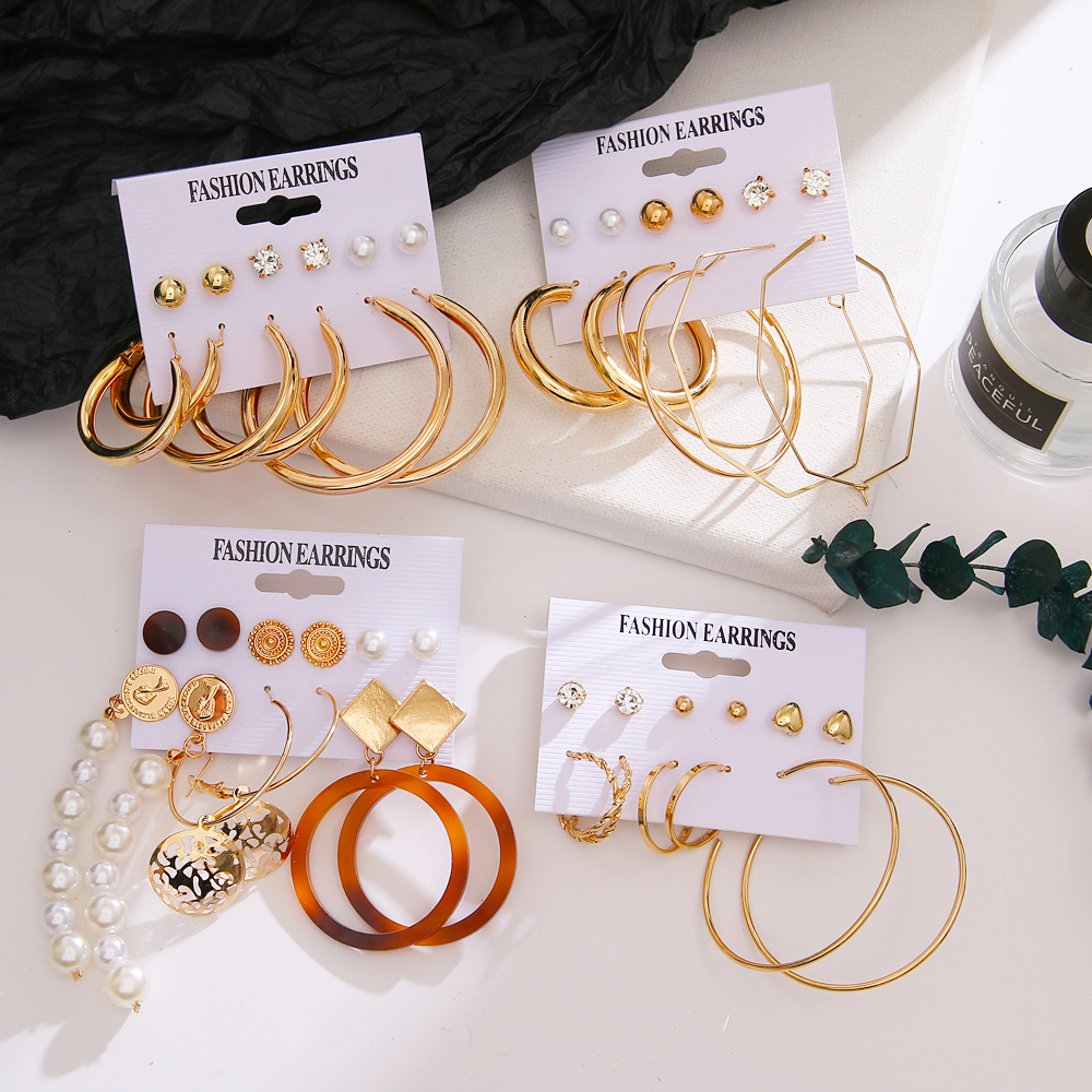 New Korean Pearl Acrylic Alloy Drop Earrings For Women Statement Geometric Round Pendant Bohemia Earrings Pendant Jewelry Gift