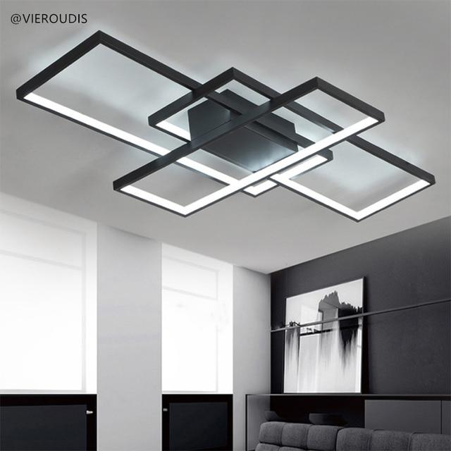 ceiling lights for living room bedroom Minimalist Rectangle Aluminum Modern Led ceiling lighting AC85-265V White Black Fixtures