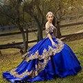 Платье женское атласное с блестками, милое бальное платье с открытыми плечами, с аппликацией, со шлейфом, Королевского синего цвета, с золот...