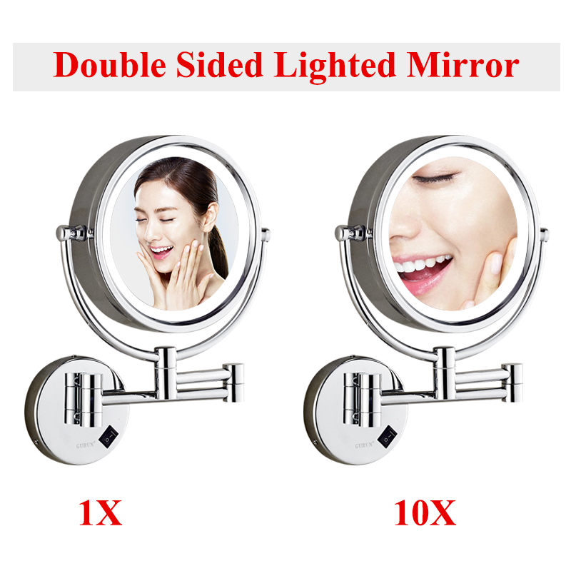 Зеркало для макияжа в голливудском стиле с подсветкой, косметическое зеркало 9x3 Вт с регулируемой яркостью, светодиодный светильник с 10х то... - 2