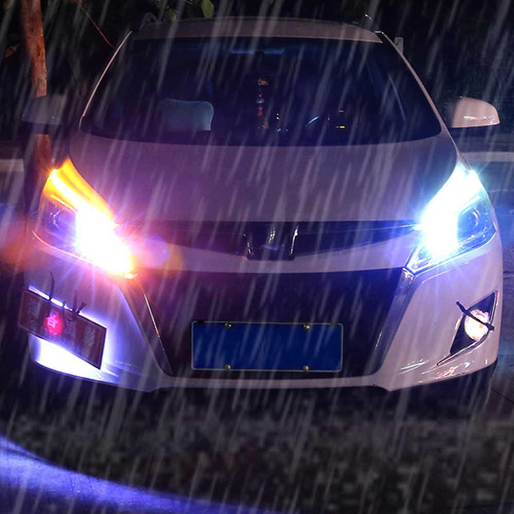 2X Ultrafine Mobil DRL LED Siang Hari Berjalan Lampu Putih Sinyal Giliran Kuning Guide Strip untuk Headlight Perakitan Dropshipping