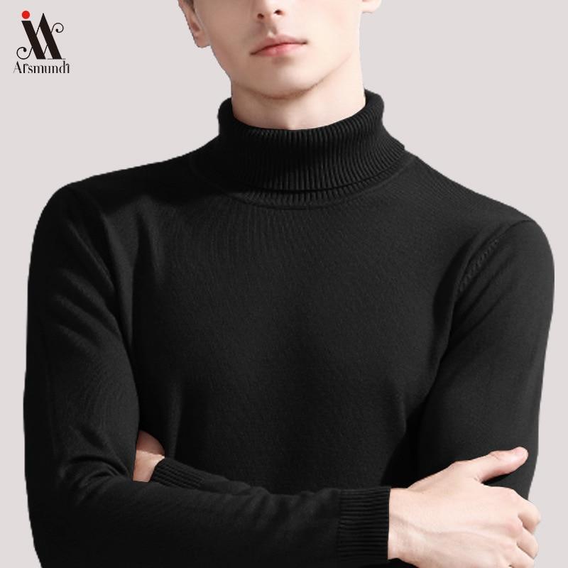 2019 Brand Slim Men's Knit Lapel Long Sleeve Turtleneck Turtleneck Solid Color Regular Sweater For Men Winter High Neck Sweater