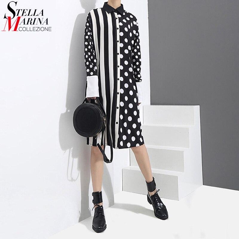 2020 Korean Style Women Black Shirt Dress Polka Dots Printed & Stripes Long Sleeve Ladies Casual Midi Unique Dress vestidos 3191vestidos fvestidos fashiondress vestidos -