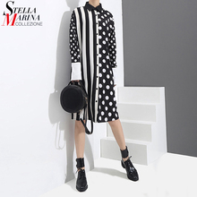 2020 Korean Style Women Black Shirt Dress Polka Dots Printed & Stripes Long Sleeve Ladies Casual Midi Unique Dress vestidos 3191