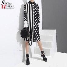 2020 kore tarzı kadın siyah gömlek elbise Polka noktaları baskılı ve çizgili uzun kollu bayanlar Casual Midi benzersiz elbise vestidos 3191