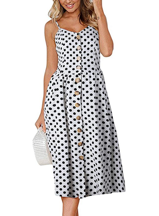 Boho Sexy Floral Dress Summer Vintage Casual Sundress Female Beach Dress Midi Button Backless Polka Dot Striped Women Dress2020  12