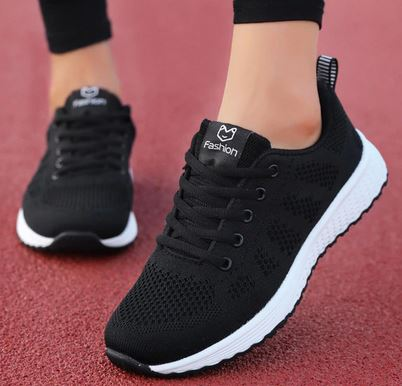 YEELOCA 2020 Breathable Walking Mesh Lace Up Flat Shoes a001 Sneakers Women Tenis Feminino TR555