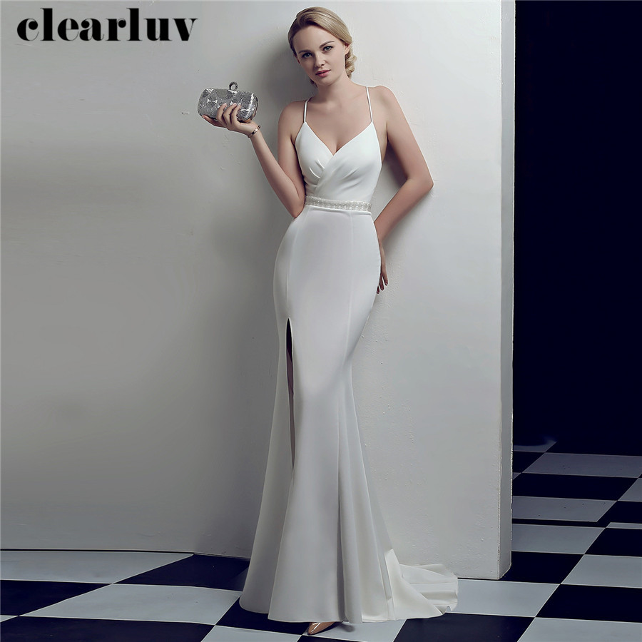Evening Dresses Sexy Spaghetti Strap Formal Dress DX323 2020 Plus Size Strapleass Robe De Soiree White Small Trailing Party Gown