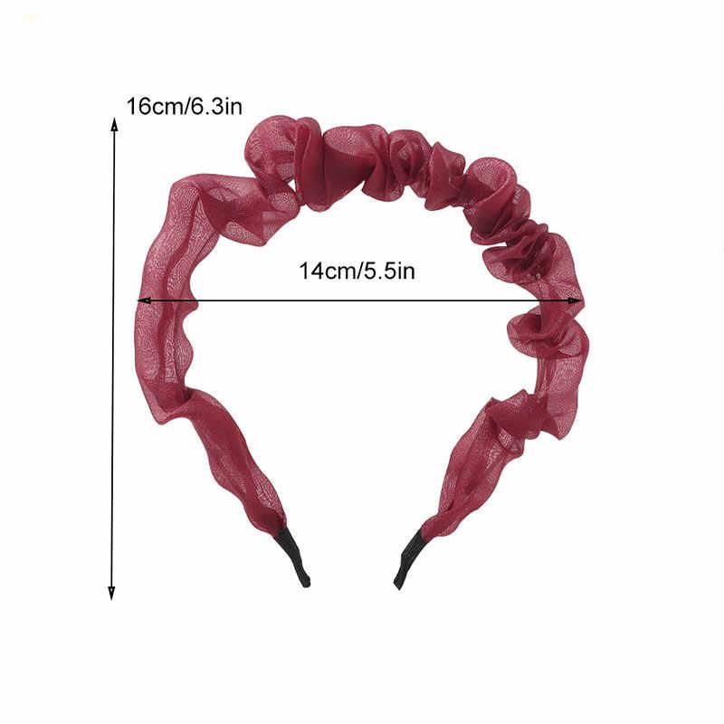 2020 New BrightสีOrganza Hairband Head Bandสำหรับสตรีลูกไม้บางย่นผมHoop Headband Bezelอุปกรณ์เสริมผม