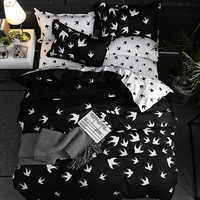Luxury Bedding Set Duvet Cover Sets 3pcs Marble Super King Size Single Swallow Queen Black Comforter Bed Linens Cotton Designer