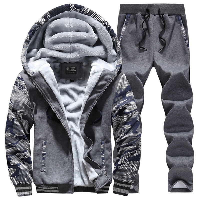 Men's Autumn And Winter Fashion & Sports Brushed And Thick Hoodie Suit Pants Large Size Men'S Wear Free Agent