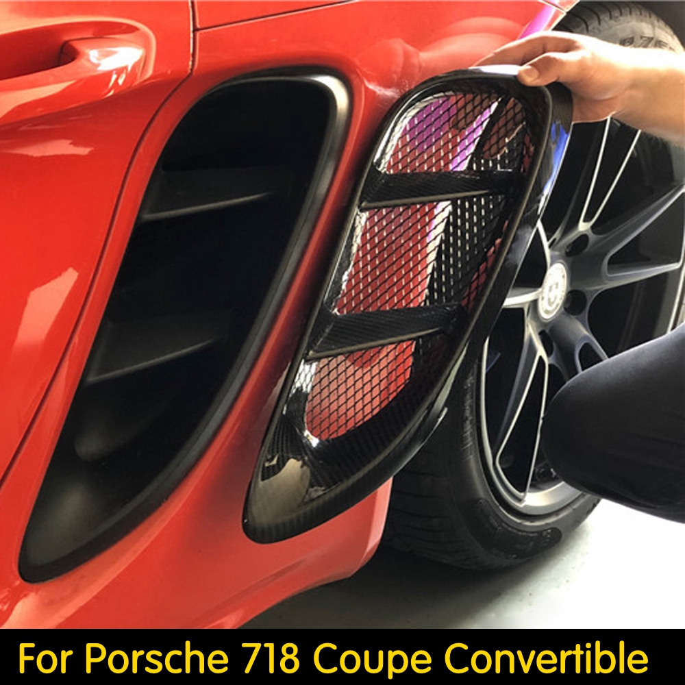 Full Carbon Fiber Side Vents For Porsche <font><b>718</b></font> <font><b>Boxster</b></font> Cayman Car Accessories Body Kits Styling Side Air Vents Real Carbon Fiber image