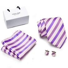 Free shipping Mens Ties 2019 Luxury Paisley Blue Silk Tie with Hanky Tie Set Cufflinks Buisness jacquard Woven Neck Tie vintage tie with paisley jacquard