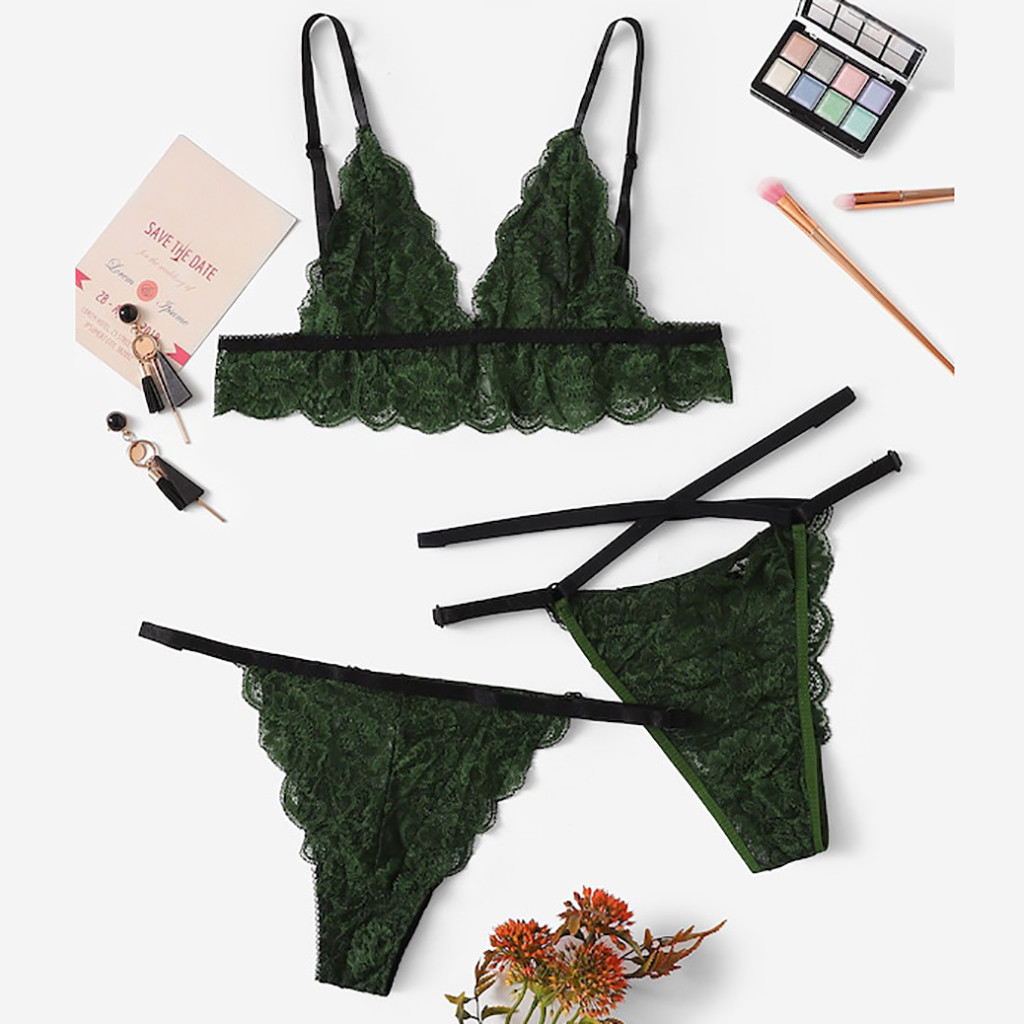 Bra+Panty Set Sexy Ultra Thin Lace Lingerie Breathable Soft Women's Intimate Strappy Wire Less Underwear Bralette Bra G-string