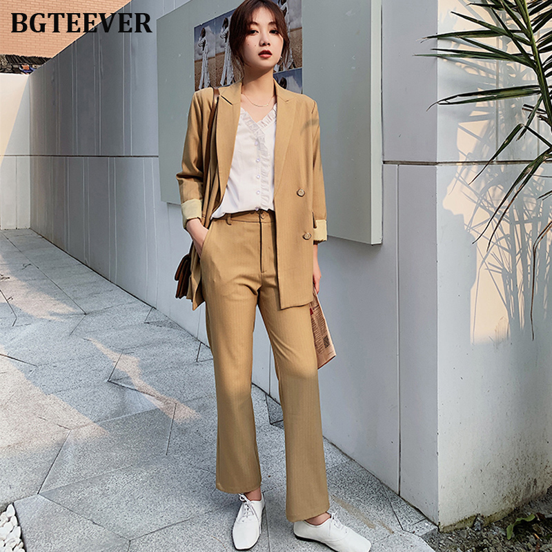 Fashion Women Pant Suit Double-breasted Blazer Suits Female Elegant Workwear 2 Pieces Set 2019 Autumn Loose Trousers Suits