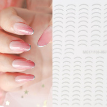 New arrived Fashion Decals Nail Art Stickers  silver color U SHAPE LINE Nails Sticker Decorations Manicure Z0228