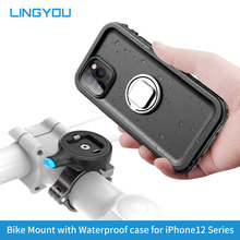 LINGYOU Motorrad Fahrrad Telefon Halter Aluminium Legierung Mount & Wasserdichte Handy Fall für iPhone 12/12 Mini/12 Pro/12 Pro Max