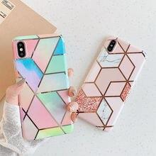 Funda de teléfono moderna artística de mármol geométrico para iphone XS XR XS Max 6 6S 7 8 Plus, funda de silicona suave brillante, funda trasera, capa de regalo