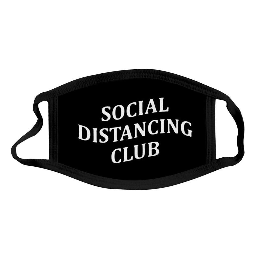 Social Distancing Club Washable Masks Hip Hop Black Bilayer Winter Warm Cotton Mask Face Dustproof Unisex Mouth-Muffle Mask