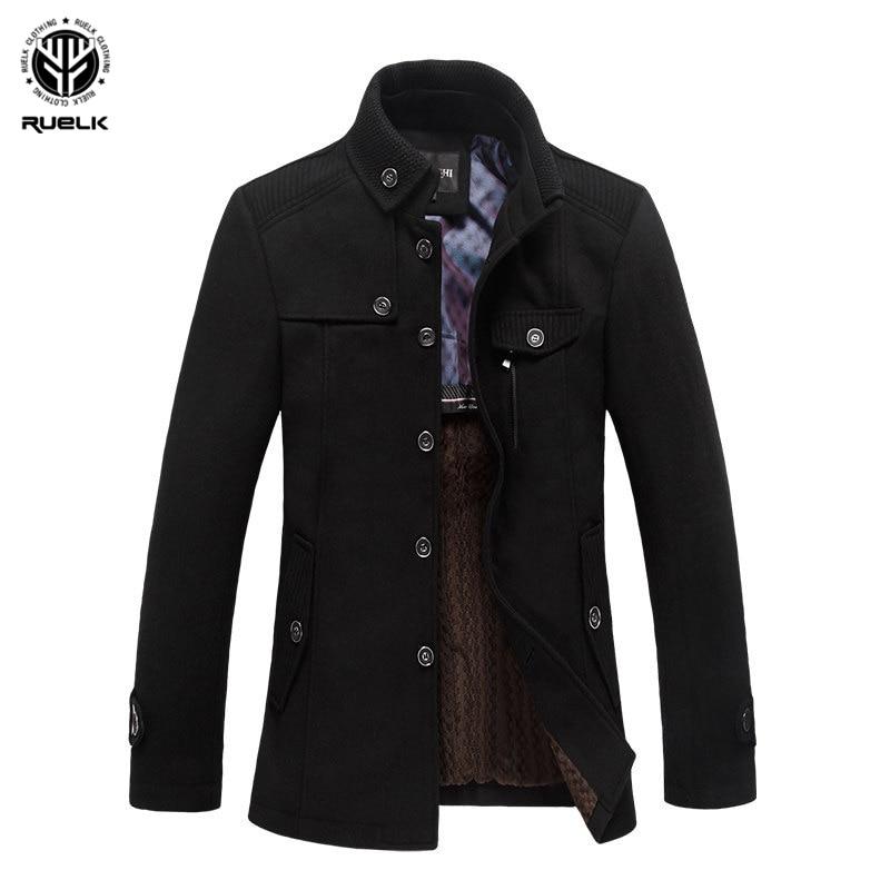 RUELK Autumn And Winter New Men's Business Casual Woolen Men's Jacket Plus Velvet Stand Collar Woolen Coat Windbreaker Men Top