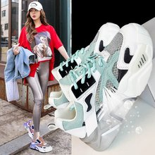 spring and summer new low top color matching tide shoes wild sports shoes running shoes Summer 2020 new women's tide color matching breathable casual sports shoes fashion wild thick bottom old shoes Z1001