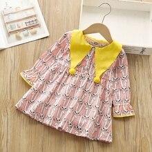 купить 1-6T Baby Girl Dress Lovely Toddler Children Spring Autumn Girls Cute Cartoon Print Lapel Long-Sleeved Sweet Princess Dress #m онлайн