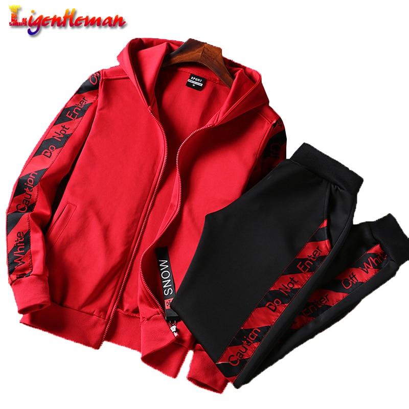 Autumn Male Large Size Sporting Suits Spring Fashion Men Sport Suit Hooded Sweatshirt+Pants Sportswear Two Piece Set Tracksuit