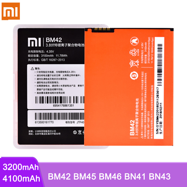 Original Battery BM42 BM45 BM46 BN41 BN43 For Xiaomi Redmi Note 2 3 4 4X Hongmi Note2 Note3 Note4 Li ion Replacement Batteries