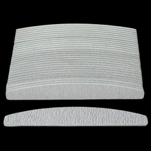 Lote de 100 unidades de limas curvadas para manicura, grises, media luna, 100/180