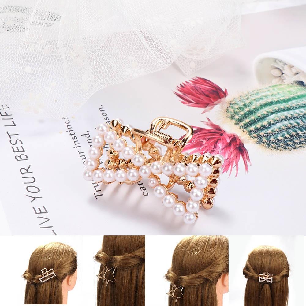 Korean Women Imitation Pearl Hairpins Elegant Bow Star Geometric Hair Clips Claws Girls Hair Accessories Hair Styling Tool