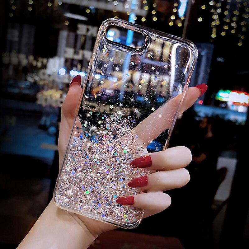 For Samsung Galaxy A51 A71 A81 A50 J5 J7 2016 2017 J4 J6 J8 2018 J2 Prime A7 A9 A8 A6 Plus 2018 Transparent Glitter Sequins Case