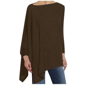 Womens casual blusa sólida manga longa irregular moletom solto impressão menina pulôver tops blusa roupas femininas