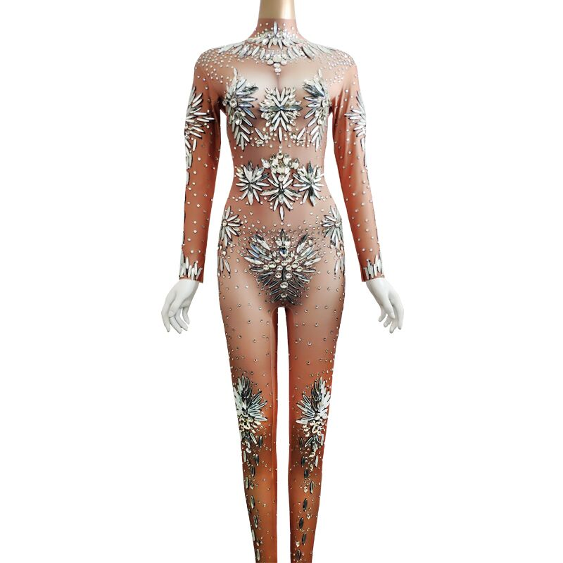 New Sparkly Crystals Jumpsuit Women Stage Costume Sexy Rhinestones Elastic Bodysuit Rompers Bar DJ Singer Party Stage Dance Wear