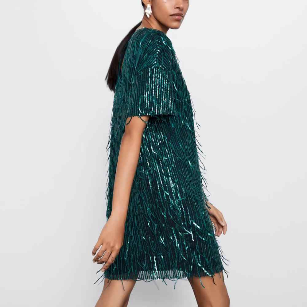 Za 女性ドレス 2019 光沢のある房高輝度シックなレディグリーン黒ストリートセクシーミニクラブパーティードレス