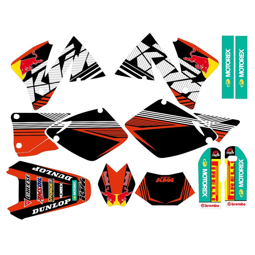 Full Graphics Decals Stickers Custom Number Name 3M Matte For KTM EXC125 200 250 300 380 400 520 1998 1999 2000 2001 2002 2003