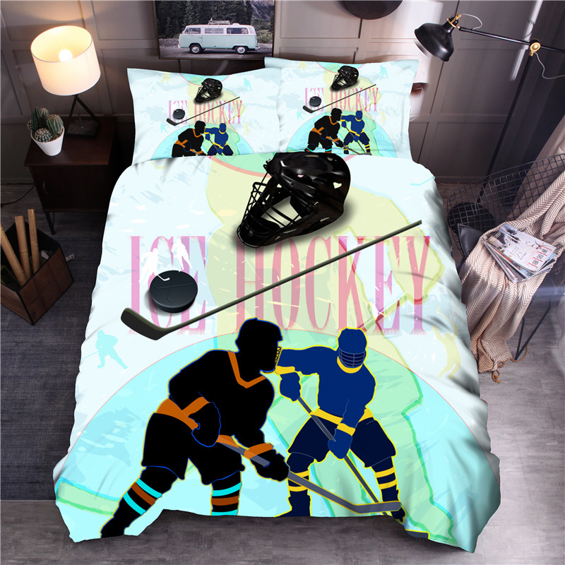 Sport Printed Bedding Sets Ice Hockey Duvet Cover Set Queen King Quilt Cover Bed Linen