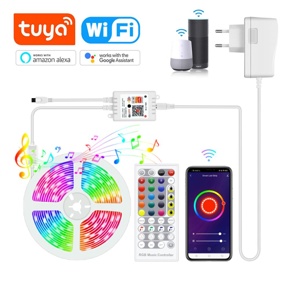 Tuya WiFi LED Strip light RGB Controller 12V Smart Life Music Sync DJ Disco Lamp Build in Microphone Work With Alexa Google Home|LED Strips| - AliExpress