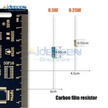 100 шт. 1/2W 0,5 W 1/4 Вт 0,25 угольный осажденный резистор 5% 1R-1M Ом резистор 1K 2,2 K 4,7 K 10K 15K 22K 47K 51 к 100 470K 510K 1 м ом