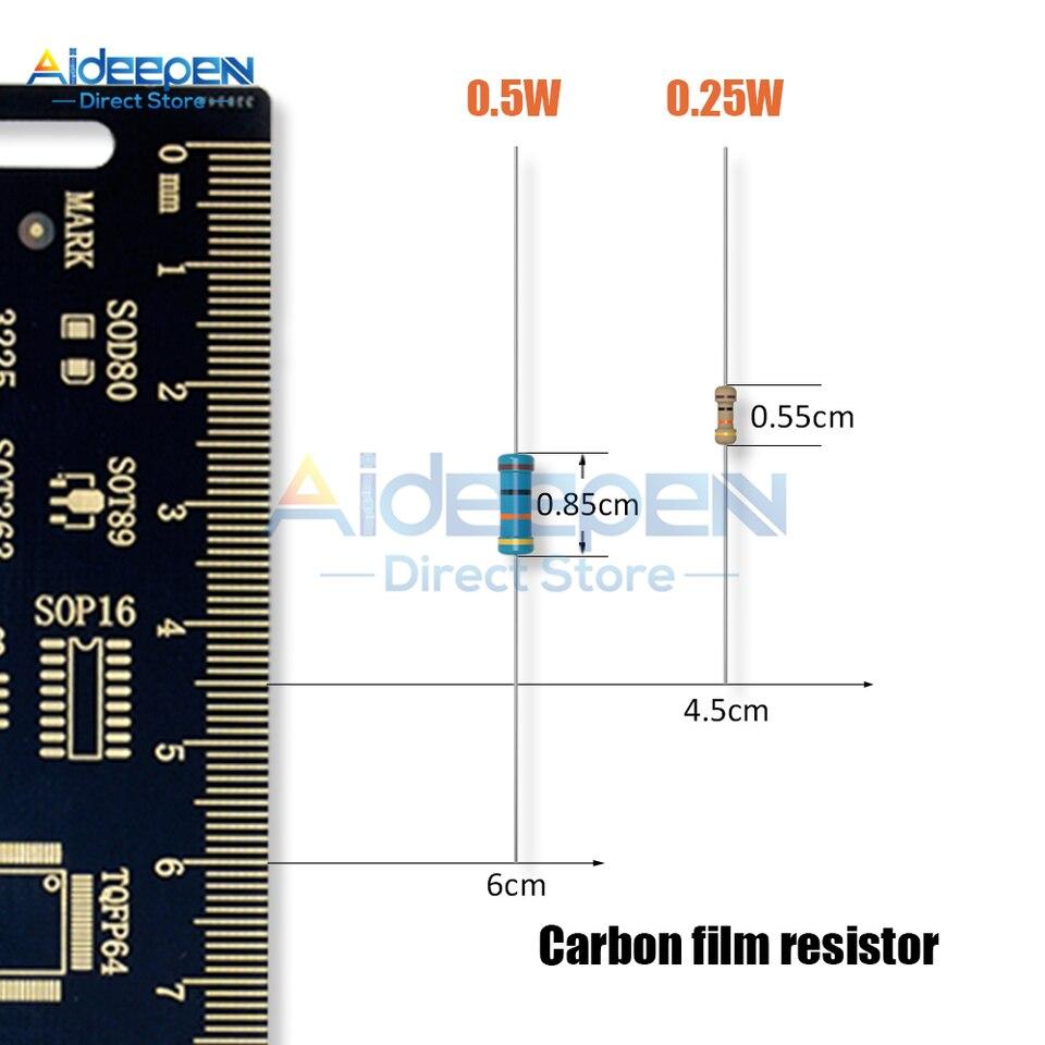 1m Ohm 1//2W 0.5W Résistance à Film Carbone ± 5/% /% 10 Ohm