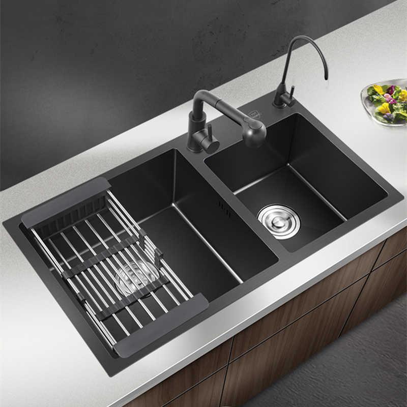 black kitchen sink double bowl nano double sink undermount vegetable basin kitchen sink stainless steel home sink kitchen items