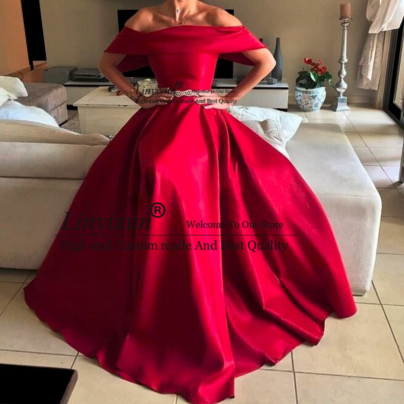 Sexy New Listing Arabic Prom Dresses Boat Neck Short Sleeve With Beading Belts Red Evening Dresses Fast Shipping Long Prom Dress