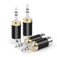 3.5mm 3Pole Earphone Plug Carbon Fiber Rhodium Plating Jack Audio Wire Connector Minijack For Soldering DIY Hifi Headset Adapter