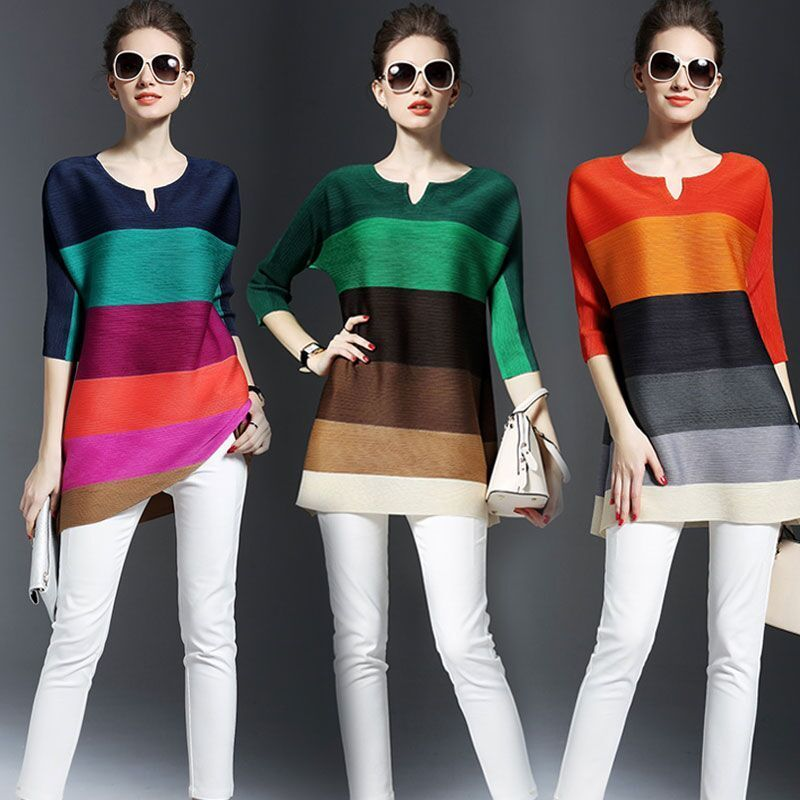 Женская плиссированная блузка в полоску, элегантная Свободная Повседневная Блузка контрастных цветов с рукавом три четверти, топы для лета