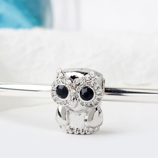 Fit Original Pandora Charms Bracelet Blue Crystal Eyes Owl Bead Women Clear CZ Cute Bird Beads Cartoon Animal Jewelry Xmas Gifts