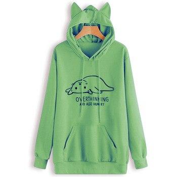 pink cute hoodie print womens clothing 2019 christmas women hoodies cat harajuku oversized gothic 2019 plus size plus size cat print hoodie with ears