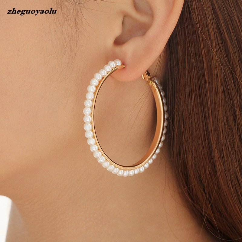 Foreign Trade Hot Fashion New Star Street Style Style Winding Pearl Metal Earrings For Women Birthday Gift Jewelry Earrings