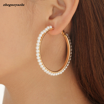 Foreign Trade Hot Fashion New Star Street Style Style Winding Pearl Metal Earrings For Women Birthday Gift Jewelry Earrings image