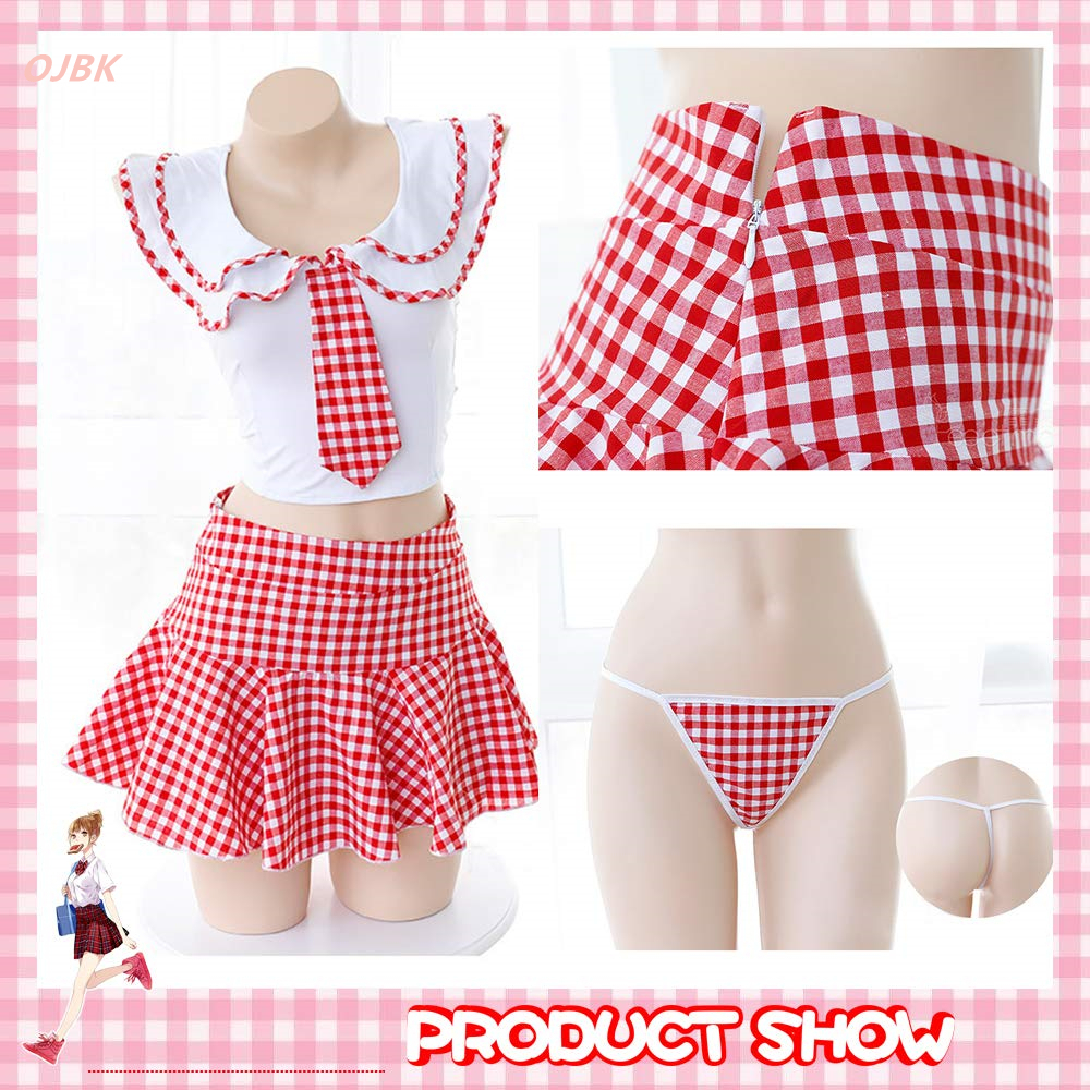 Lilicochan Cute Plaid Schoolgirl Lingerie Women Student Uniform With Tie Top Mini Pleated Skirt White Sexy Costumes Maid Cosplay