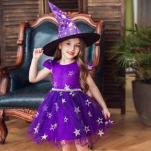 Witch Costume For Girls Role Play Holiday Halloween Costumes For Kids Vampire Witch Dress up Cosplay Performance Dance Show(China)